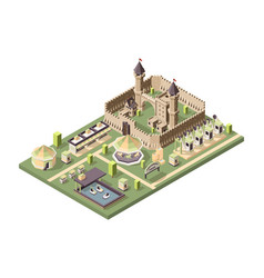 Amusment park isometric attractions with medieval vector