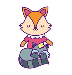 bashower cute little female fox and raccoon vector image