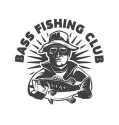 bass fishing club emblem template with fisherman vector image