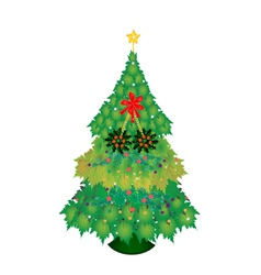 Baubles and Christmas Holly on Christmas Tree vector