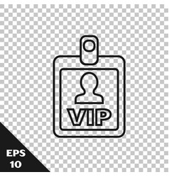 Black line vip badge icon isolated on transparent vector