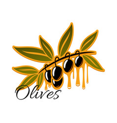 Black olives branch icon vector