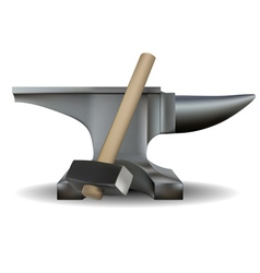 Blacksmiths anvil and hammer vector