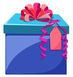 Blue box with pink ribbon vector