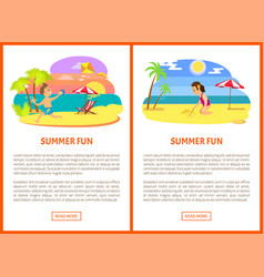 boy and girl on beach summer fun poster vector image