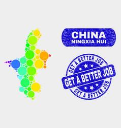 bright mosaic ningxia hui region map and grunge vector image
