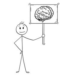 cartoon man or businessman holding sign vector image