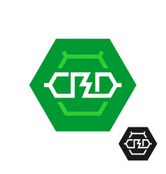 Cbd molecule logo tech symbol of cannabidiol vector