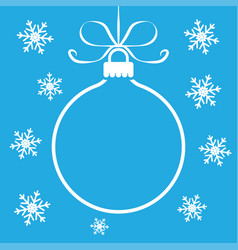 christmas ball toy outline on blue background vector image