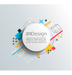 circle frame with colorful geometric background vector image