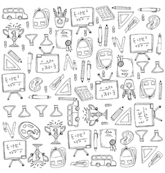 Collection stock many object school doodles vector