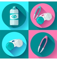 Contact lens case Container daily solution and vector