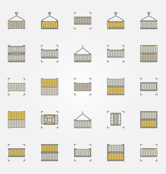 container colorful icons set vector image