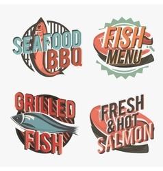 Creative set fish logos include salmon steak vector