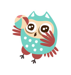 cute cartoon owl bird playing a ball colorful vector image