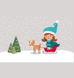 cute girl santa helper with sled and reindeer vector image