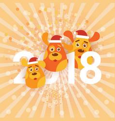 Cute holiday banner dogs wearing santa hats happy vector