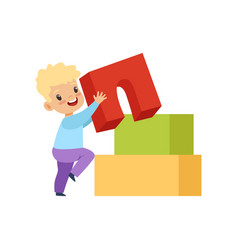 Cute little boy playing with buiding toy blocks vector