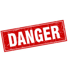 Danger red square grunge stamp on white vector