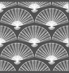 dark fan seamless pattern in hand-drawn style vector image
