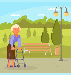 disabled senior woman with walking frame vector image