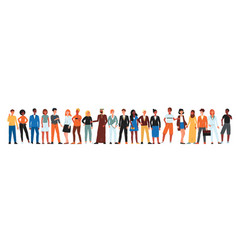 Diverse community people standing in line vector
