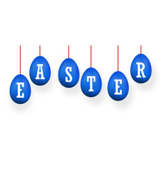 easter egg 3d icons blue set white text hanging vector image