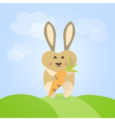 Easter rabbit with carrot vector