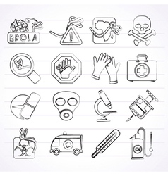 Ebola pandemic icons vector