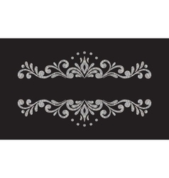 Elegant luxury vintage silver floral border vector