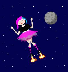 Emo girl flies in outer space near moon vector