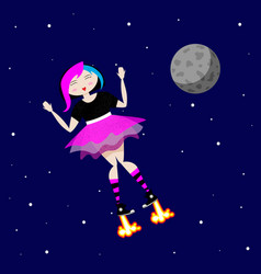emo girl flies in outer space near the moon vector image