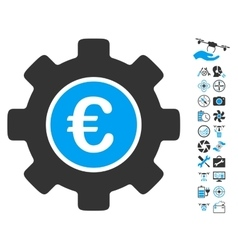 Euro Development Gear Icon With Copter Tools Bonus vector