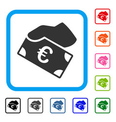 euro payment framed icon vector image