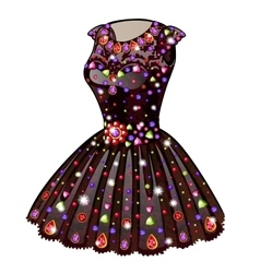 Evening Princess dress inlaid with precious stones vector image vector image