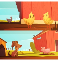 Farm Animals 2 Horizontal Cartoon Banners vector