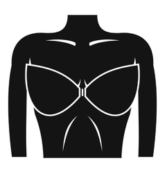 Female breast in a bra icon simple style vector image
