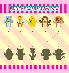 Find correct shadow different fingers puppet vector