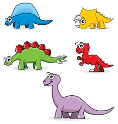 Five Cute Dinosaurs vector image