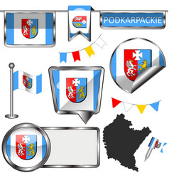 flag podkarpackie poland vector image