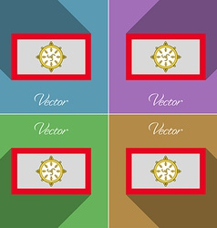 Flags SIKKIM Set of colors flat design and long vector image
