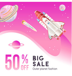 Galaxy social media design with planet and rocket vector