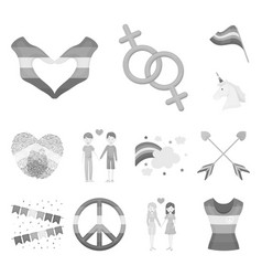 gay and lesbian monochrome icons in set collection vector image