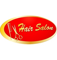 golden signboard for barbershop vector image