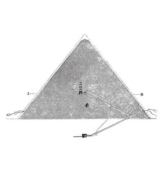 Great pyramid of giza cross section vintage vector