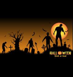 halloween zombies in a graveyard vector image