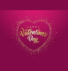 happy valentine day in glittering golden heart vector image