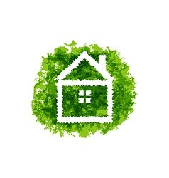 Icon eco home on grunge background vector image