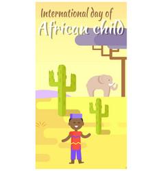 international african child day cartoon placard vector image