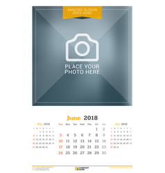 june 2018 wall calendar for 2018 year design vector image